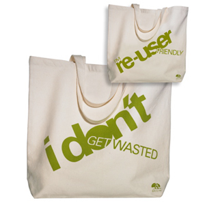 'I Don't Get Wasted' And 'I'm Re-User Friendly' Recycled Organic Cotton Canvas Bag